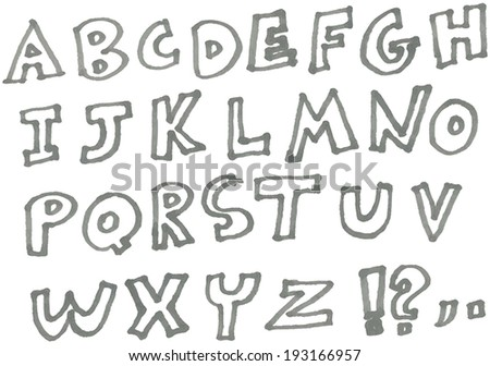 Vector hand drawn marker alphabet
