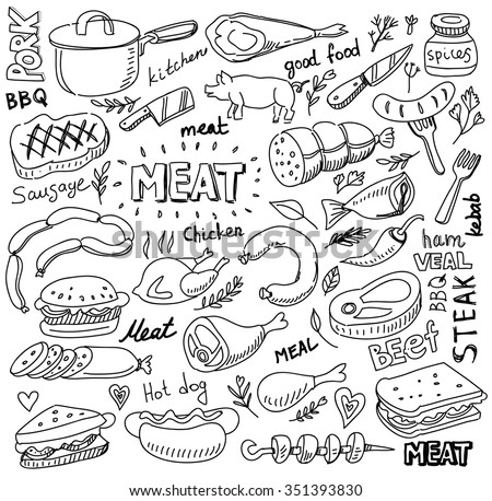 vector hand drawn meat elements set on white - stock vector