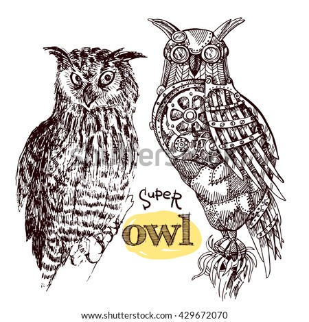Vector hand drawn mechanical owls. Mechanical sketch animal. Steampunk style owl. Natural owl sketch style. - stock vector