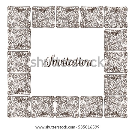 Vector hand drawn medieval ornamental invitation stock vector vector hand drawn medieval ornamental invitation frame with leaves grapes and copy space stopboris Image collections