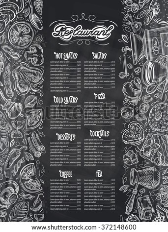 vector hand drawn menu restaurant sketch and food, drinks doodle - stock vector