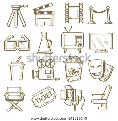 vector hand drawn movie icons set - stock vector