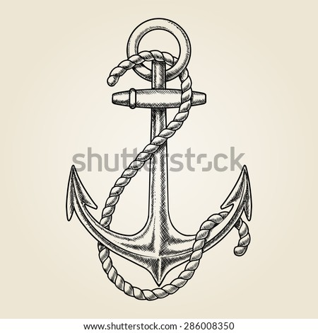 Vector hand drawn nautical anchor. Element ship, travel and drawing vintage, rope marine - stock vector