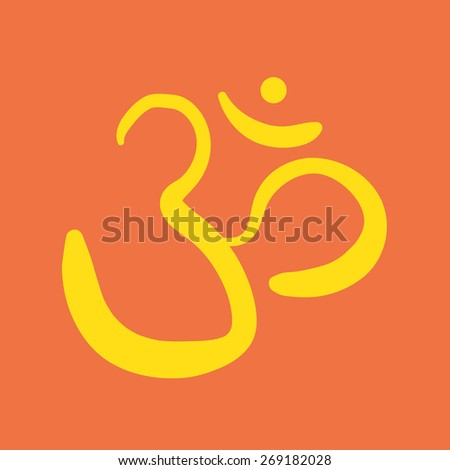 vector hand drawn om sign and symbol. sacred sound sketch on a orange background - stock vector