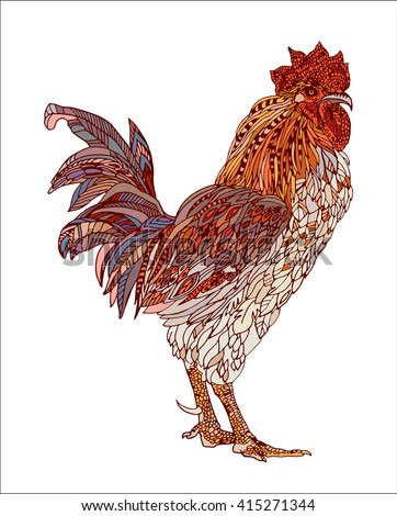 vector hand drawn, ornamental rooster, multicolored - stock vector