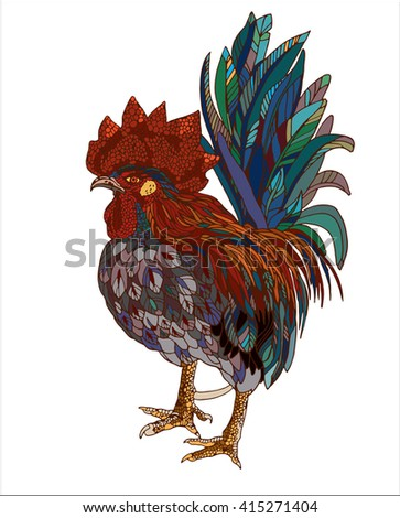 vector hand drawn ornamental rooster multicolored - stock vector
