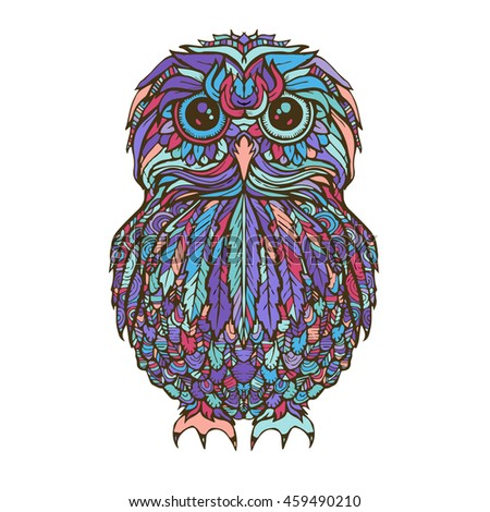 Vector Hand Drawn Owl Bird On Background Black And White Zentangle Art Ethnic Illustration