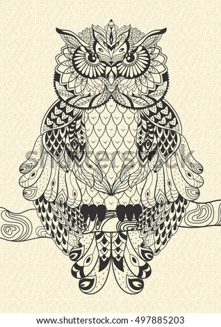 Vector hand drawn Owl sitting on a branch.  Black and white zentangle art. Tribal Owl  illustration for print, card, coloring book and other cover design