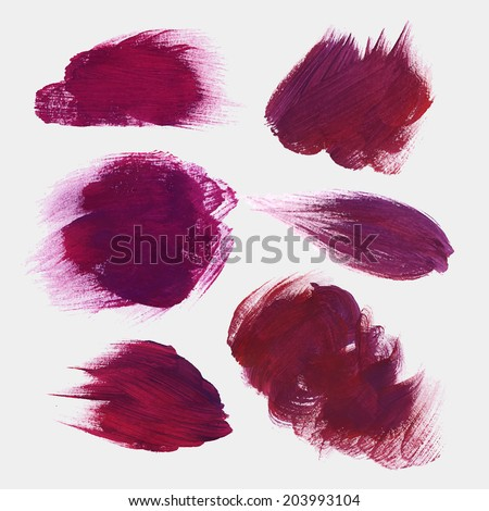 Vector hand drawn paint stains grunge set - stock vector