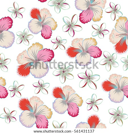 Vector hand drawn painting of hibiscus flowers in pink and beige colors. Seamless pattern on white background.