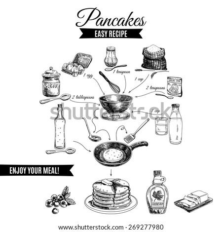 Vector hand drawn pancakes illustration. Vintage Illustration with milk, sugar, flour, vanilla, eggs, mixer, and kitchen dish. Simple pancakes recipe. - stock vector