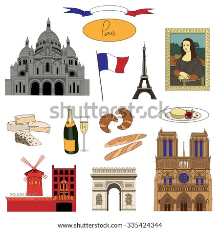Vector hand-drawn Paris landmarks and food illustration colorful set - stock vector