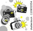 Vector hand drawn photo cameras - stock vector