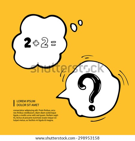 vector hand drawn picture with dialog cartoon bubbles on yellow background - stock vector