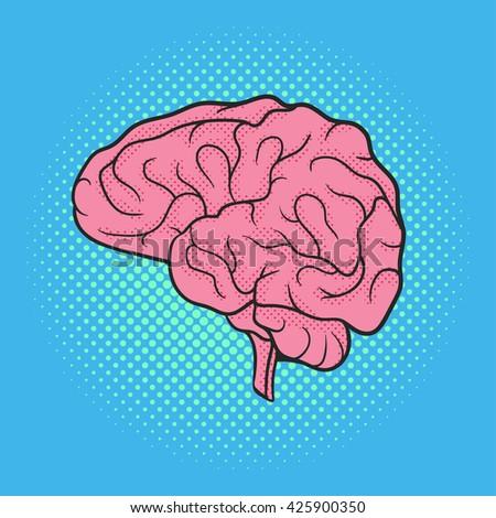 Vector hand drawn pop art illustration of brain. Retro style. Hand drawn sign. Illustration for print, web. - stock vector