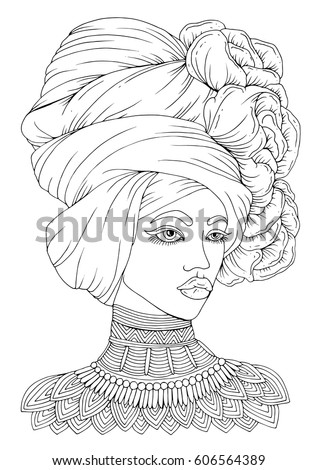 vector handdrawn portrait young africanamerican woman