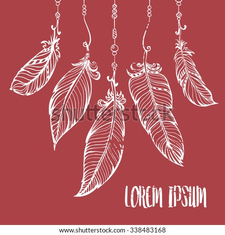 Vector hand drawn poster with feathers and beads. Bohemian style.  - stock vector