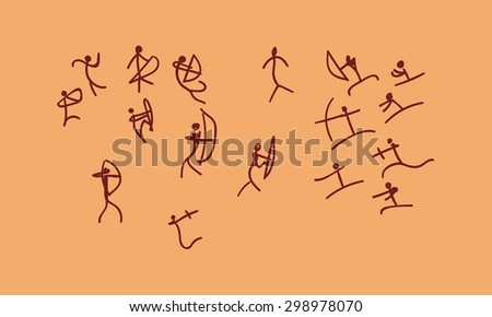 vector hand drawn rock-painting war between tribes. concept ancient sketch on a orange background - stock vector
