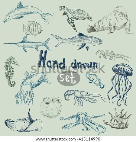 Vector hand drawn sea animal set
