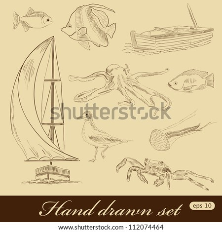 Vector hand drawn sea elements - stock vector