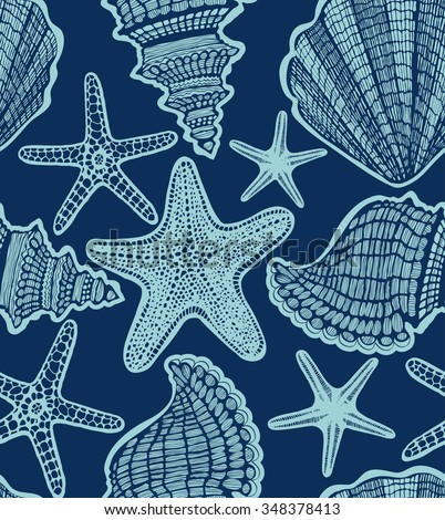 vector hand-drawn seamless dark background with turquoise starfishes and shells