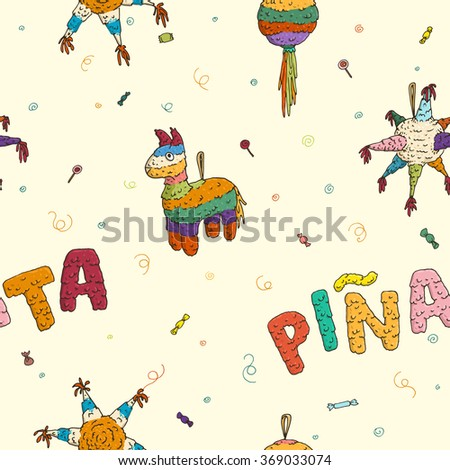 vector hand drawn seamless pattern of pinata mexican party - stock vector