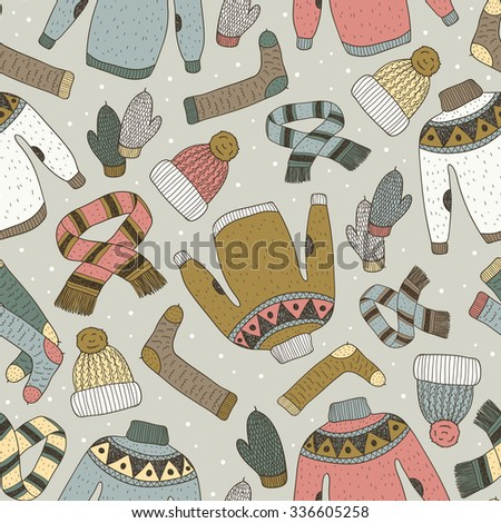 vector hand drawn seamless pattern with