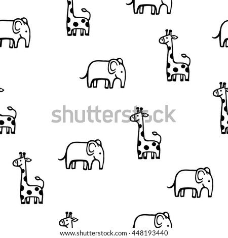 Vector hand drawn seamless pattern with cute baby elephant and giraffe. Black and white line art style background, could be used as textile print, web-design, greeting card. - stock vector