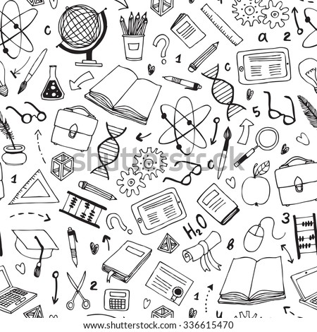 vector hand drawn seamless pattern with education items - stock vector