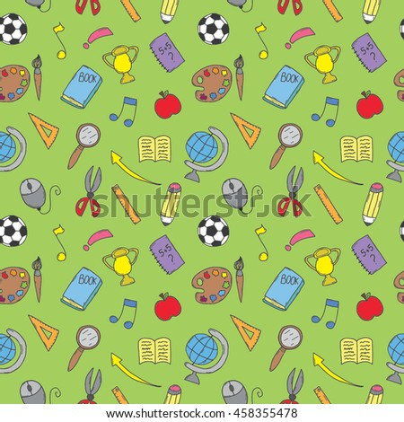 Vector hand drawn seamless pattern with education items. Back to school themed doodle background.