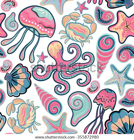 Vector hand drawn seamless pattern with jellyfish, shells, starfish, octopus and crabs. Ocean background.