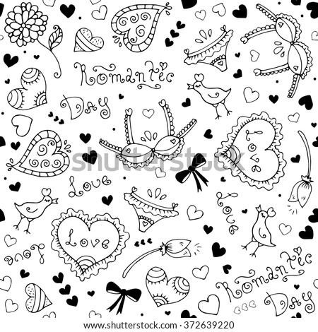 Vector hand-drawn seamless pattern with Valentine's Day symbols. Original hand drawn phrase romantic day, love, bird, underwear, flower, ornament and heart. Drawn black lines on a white background - stock vector
