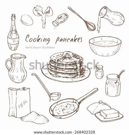 Vector hand drawn set. Illustration depicting the process of cooking pancakes. infographic about the recipe for pancakes - stock vector
