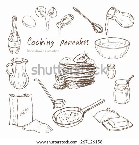 Vector hand drawn set. Illustration depicting the process of cooking pancakes. infographics about the recipe for pancakes - stock vector