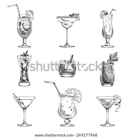 Vector hand drawn set of cocktails and alcohol drinks. Sketch. - stock vector