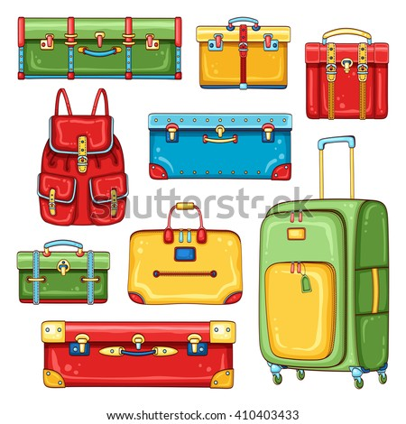 Vector hand drawn set of colorful vintage suitcases, backpack and traveling bags. Travel baggage collection