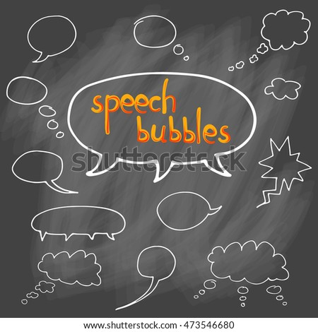 Vector hand drawn set of comic speech bubbles. Isolated. White outlines. Collection of cartoon speech and thought communication bubbles in doodle style. Blank empty speech bubbles. On chalk background