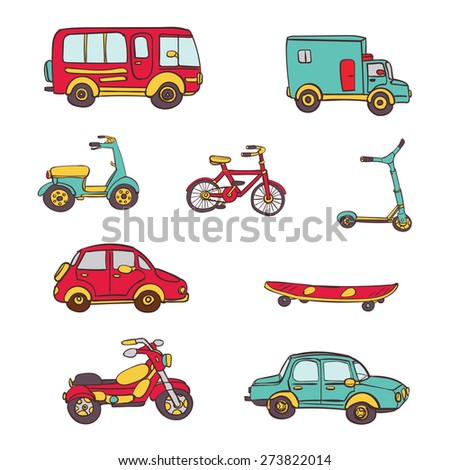 Vector hand drawn set of icons with transport. Bike, bicycle, car, truck, bus, scooter, long board. - stock vector