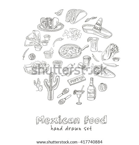 Vector hand drawn set of Mexican food vegetables, tequila, burrito, tacos and other mexican eating.  Vintage illustration for design menus, recipes and packages product. - stock vector