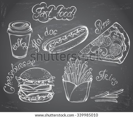 Vector hand drawn set of Retro Fast Food Menu on chalkboard in vintage style. Pizza, burger, hot dog, drink, french fries - stock vector