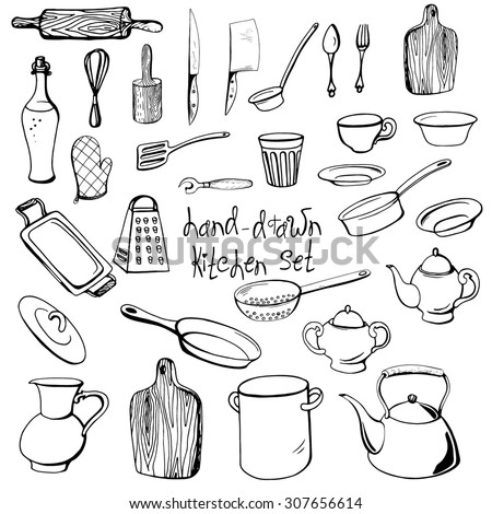 Vector hand-drawn set of rustic kitchen dishes in sketch style. - stock vector