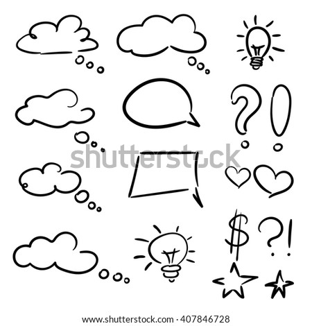 Vector hand drawn set of sketch speech bubbles clouds rounds hearts stars thought bubbles design elements - stock vector