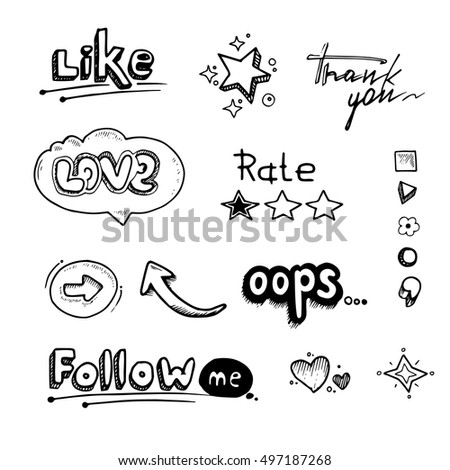 vector Hand drawn set of speech bubbles with dialog words Hello, Follow, like, Love, oops, rate. Stars, arrows and hearts illustrations isolate on white background