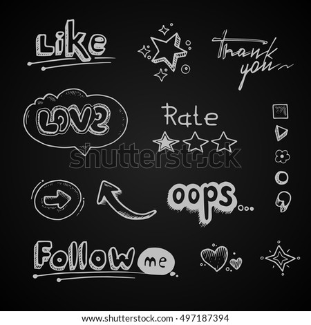 vector Hand drawn set of speech bubbles with dialog words Hello, Follow, like, Love, oops, rate. Stars, arrows and hearts illustrations isolate on dark background