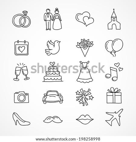 Vector hand drawn set of wedding icons, bride, groom, couple, love, marriage  - stock vector