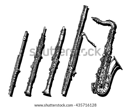 Vector hand drawn set of woodwind musical instruments.  Flute,  oboe, clarinet, bassoon and saxophone. - stock vector
