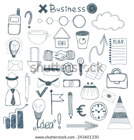 Vector hand drawn set with business and education elements  - stock vector
