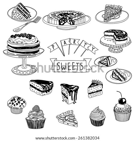 Vector hand drawn set with cakes and sweets. Sweets illustration collection. - stock vector
