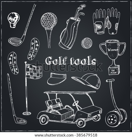 Vector hand drawn set with Golf tools. Vintage illustration for golf club identity, design, decoration, packages product and interior decorating. - stock vector