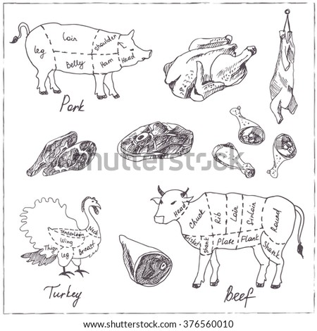258552701 Shutterstock also Meat Leg 3 in addition cuts Pork puzzles also Stock Vector Ham Hock likewise Pork Businesscards. on cuts of bacon diagram